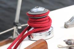 Handkurbel eines Segelboots stockfoto