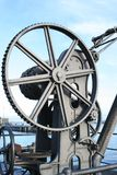 Handkurbelmechanismus für Frachtboote Stockfotos