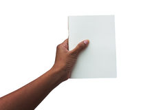 Handkvinnor som rymmer den vita boken Royaltyfri Bild