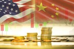 Handla analys för utbytet för aktiemarknaden för bakgrund för grafen för ljusstaken för krigekonomi USA Amerika och Kina flagga arkivbild