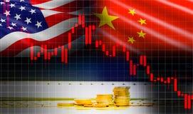 Handla analys för utbytet för aktiemarknaden för grafen för ljusstaken för krigekonomi USA Amerika och Kina flagga vektor illustrationer