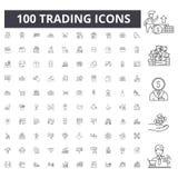 Handla linjen symboler, tecken, vektoruppsättning, översiktsillustrationbegrepp arkivbilder