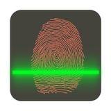 Handlag legitimation, symbol för fingeravtryckbildläsningstillträde Arkivfoton