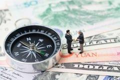 Handlar den ekonomiska riktningen för USA- och Kina finans, det krig-, import- och exportavtalet och överenskommelsebegreppet, ko arkivbilder