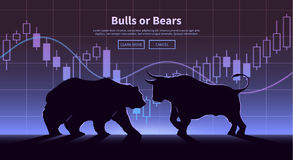 Handlarski sztandar Niedźwiedzie i byki Obrazy Royalty Free