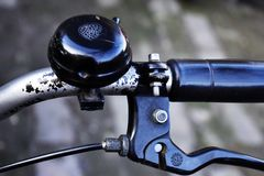 Bicycle handle, bell and brake royalty free stock photos
