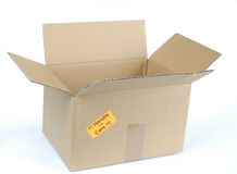 Handle with care. Isolated open shipping box on white Background royalty free stock images