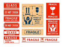 Handle with care stickers. Shipping Handle with care, Fragile and Glass stickers and stamps Stock Image