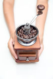 Handle Coffee Grinder On a white background Royalty Free Stock Photography