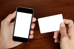 Handle credit card & phone stock photography