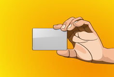 Handle Credit Cards. Vector illustration - Beautiful hands holding in outline version Royalty Free Stock Images