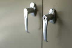 Handle of the door filing cabinet. Royalty Free Stock Photo