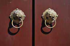 Handle Door. Knock with Wooden door in Chinese Style in Phuket Thailand Royalty Free Stock Image