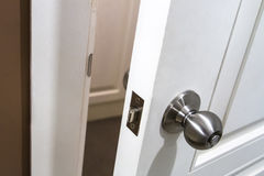 Handle on Door. Handle on white opened wooden door Stock Photography