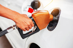 Handle fuel in the car. Royalty Free Stock Image