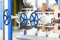 Handle Gate Valve on the Pipeline Stock Images