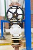 Handle Gate Valve on the Pipeline Stock Photo