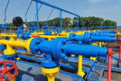Handle gate valve with steel pipe Royalty Free Stock Photos