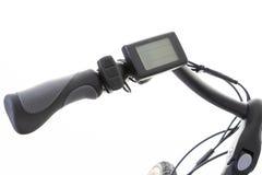 Handle and handlebar of an electric bike. A handle and handlebar of an electric bike stock images
