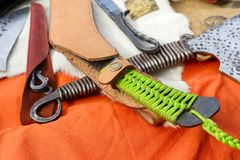 The handle of the knife made of plaiting stock photography