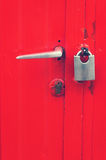 Handle and lock on door Royalty Free Stock Image