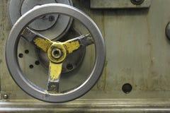 Handle longitudinal feed lathe. Handle for longitudinal feed lathe, abstract background Stock Photo