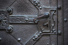 Handle of old metal medieval door. Royalty Free Stock Photography
