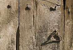Handle on the Old Wooden Door Royalty Free Stock Photos