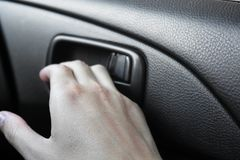 Handle opening the car door royalty free stock photography
