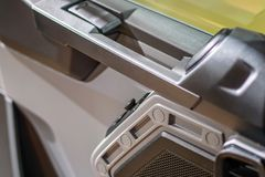 Car door handle. Handle for opening the car door, view from the interior of the cabin Stock Images