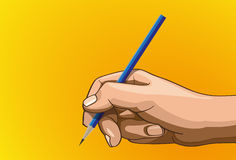Handle pencil. Vector illustration - Beautiful pencil in hands outline version. Created with adobe illustrator. pencil, background, are Created separately Stock Image