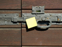Handle and post-it Stock Image