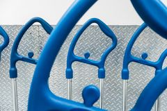 Handle of shopping carts in a row. Waiting for use Stock Photo
