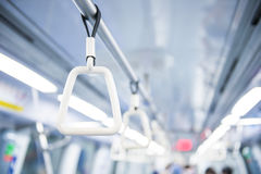 Handle for standing passenger inside subway train Royalty Free Stock Photography
