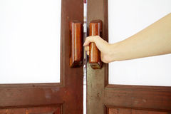 Handle of wood door Stock Images