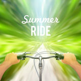 Handlebar Background Moving Poster. Man rides through the woods on bicycle at great speed vector illustration Stock Photo