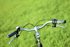 Handlebar of a bicycle. It show the front set and the handlebar of a bike Stock Images