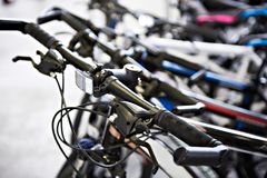 Handlebar of bicycle in shop Royalty Free Stock Photography