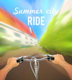 Handlebar Colored Poster. With man on bike rides in the city and description summer city ride vector illustration Royalty Free Stock Images