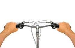 Handlebar Hand Composition. Realistic hands on bicycle steering wheel on white background  colored vector illustration Stock Image