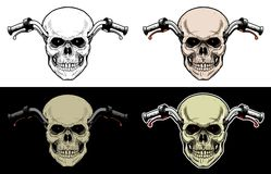 Handlebar Motorcycle With Skull Head. Drawing Skull with 4 style color Royalty Free Stock Image