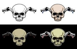 Handlebar Motorcycle With Skull Head without lower jaw. Drawing Skull with 4 style color Stock Photos