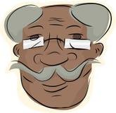 Handlebar Moustache Man. Grinning man with eyeglasses and handlebar moustache Stock Photography