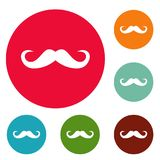 Handlebar mustache icons circle set vector. Isolated on white background Royalty Free Stock Images