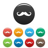 Handlebar mustache icons set color vector. Handlebar mustache icon. Simple illustration of handlebar mustache vector icons set color isolated on white Royalty Free Stock Photo