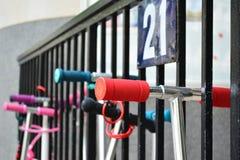 Handlebars самокатов ролика детей Стоковое фото RF
