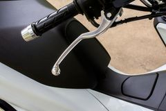 Handlebars and front break system on motorcycle. Close up Stock Photo