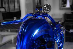 Handlebars of Harley-Davidson Blue Edition, the most expensive motorbike in the world royalty free stock photo