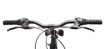 Handlebars of a mountain bicycle. Isolated. Handlebars of a mountain bicycle Royalty Free Stock Images