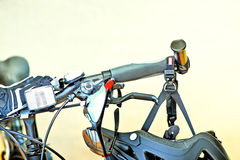 Handlebars With Sunglasses And Safety Helmet. Detail Of Handlebars With Sunglasses And Safety Helmet Stock Photos